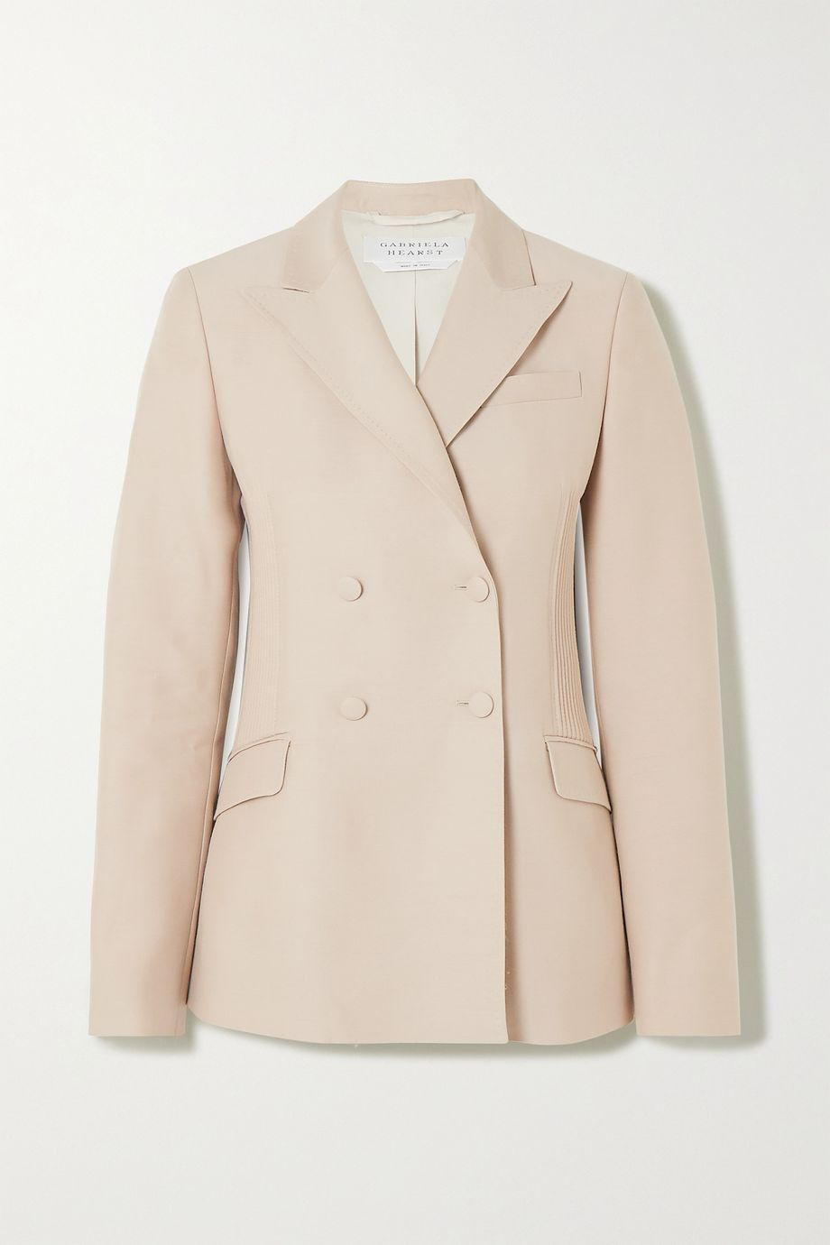 Gabriela Hearst Joaquin double-breasted pintucked wool and silk-blend blazer