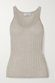 Gabriela Hearst Nevin ribbed pointelle-knit cashmere and silk-blend tank