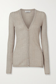 Gabriela Hearst Homer ribbed pointelle-knit cashmere and silk-blend cardigan