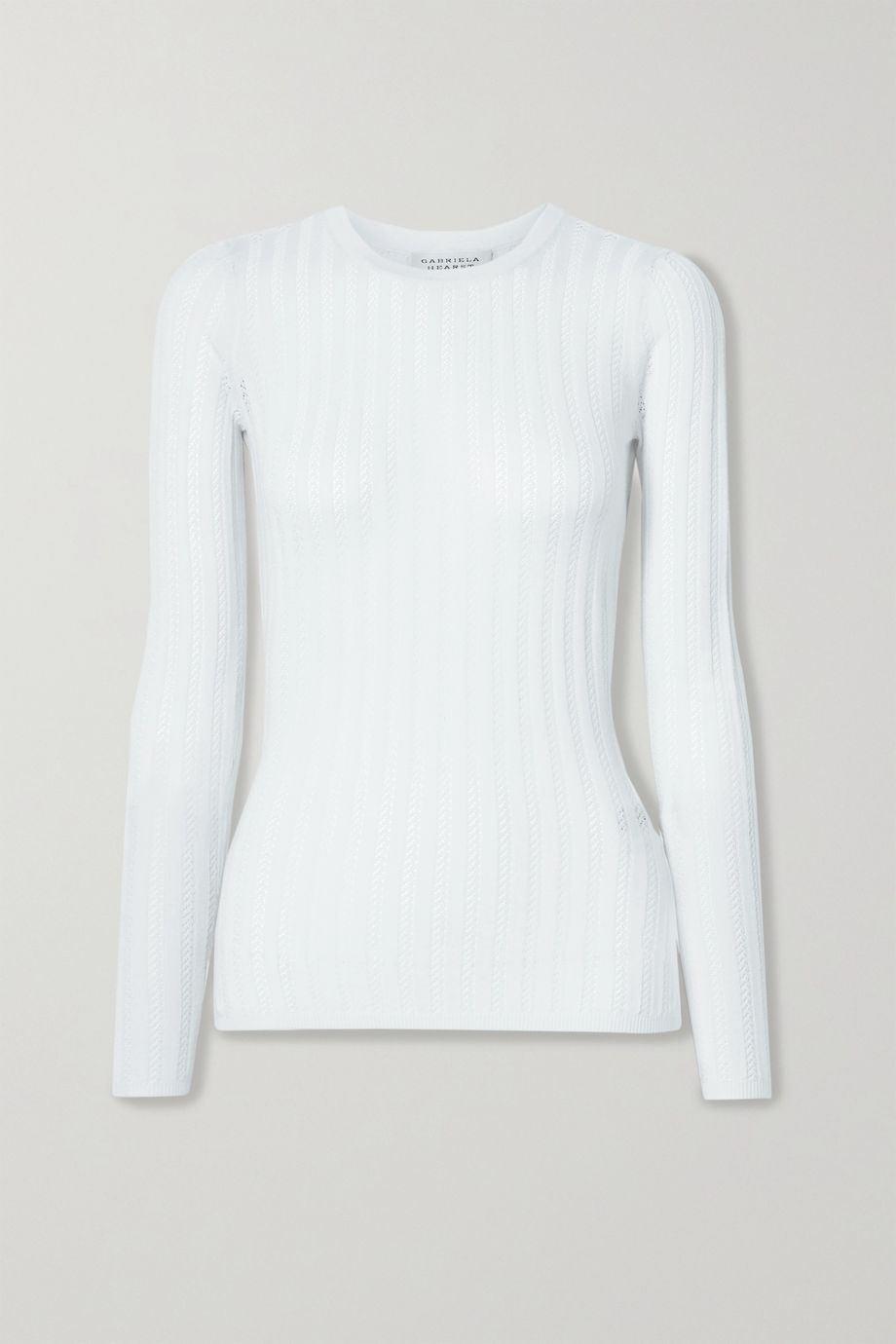 Gabriela Hearst Collins ribbed pointelle-knit cashmere and silk blend top