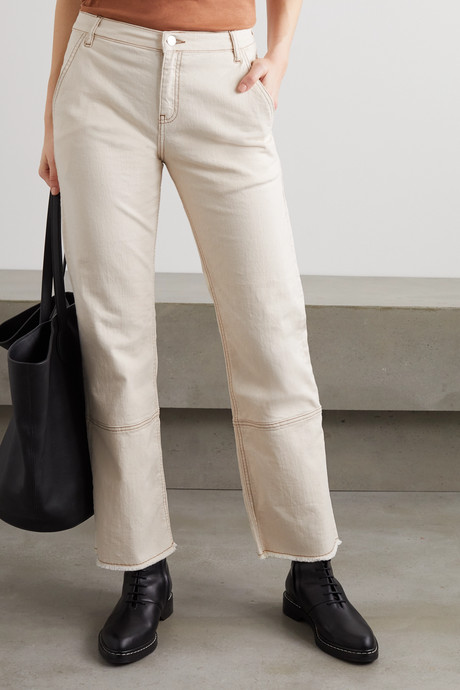 Helia frayed high-rise straight-leg jeans