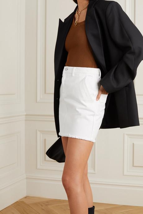 Akania frayed organic denim mini skirt