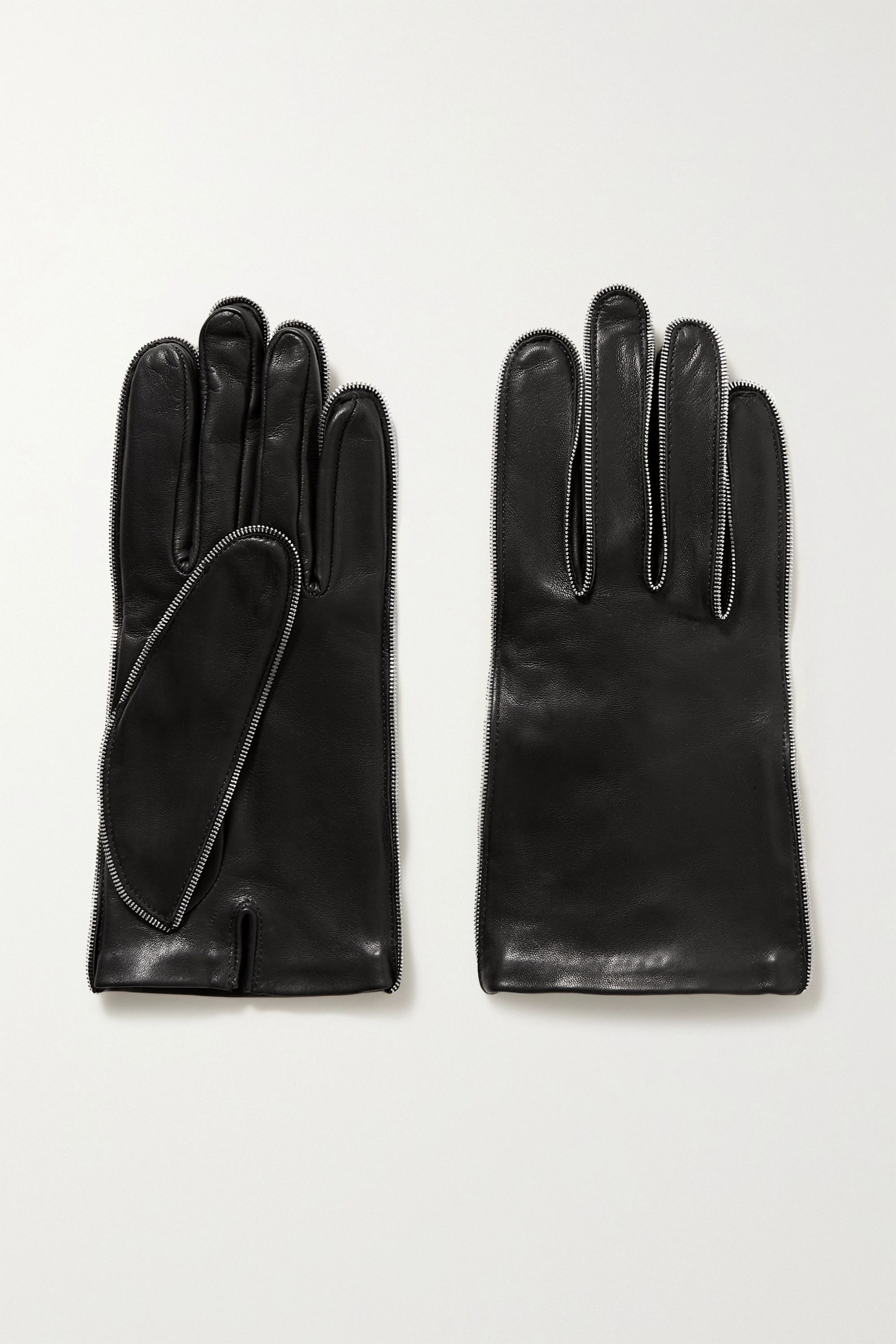 Alexander Wang Zip-embellished glossed-leather gloves