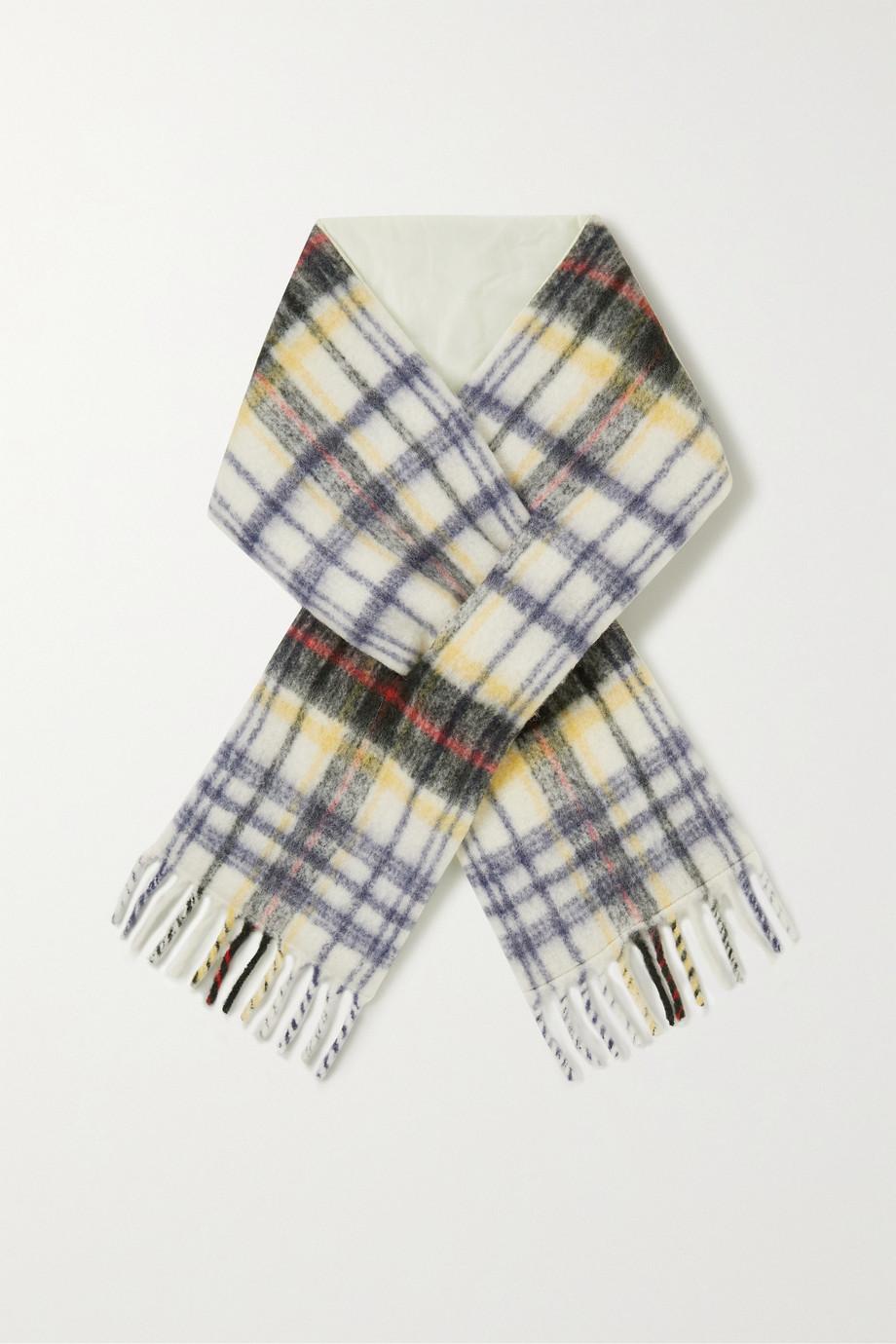 Holzweiler + NET SUSTAIN fringed padded checked alpaca-blend scarf