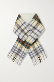 Holzweiler + NET SUSTAIN fringed padded checked alpaca-blend scarf