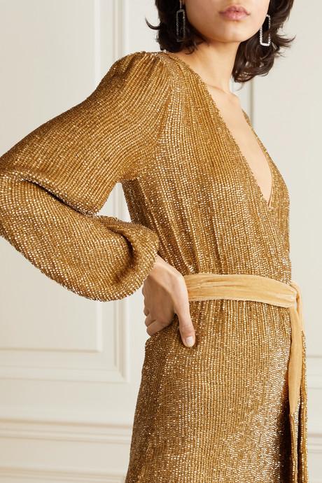 Julie velvet-trimmed sequined chiffon mini dress