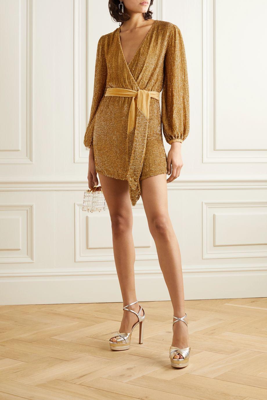Retrofête Julie velvet-trimmed sequined chiffon mini dress