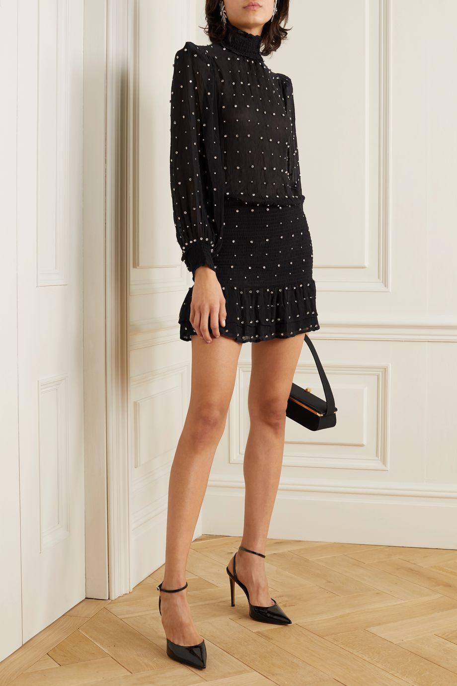 Retrofête Hedy crystal-embellished silk-georgette mini dress