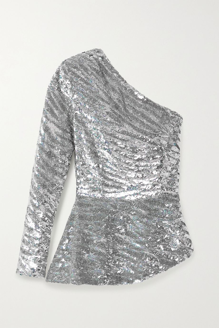 Retrofête Norma one-sleeve sequined satin blouse