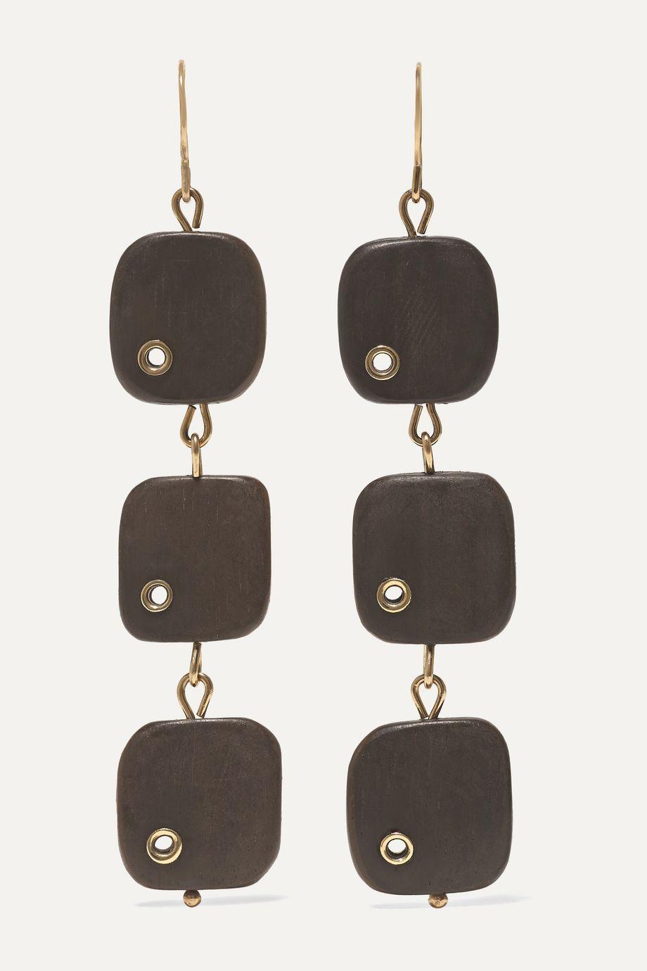 Melissa Joy Manning 14-karat gold ebony earrings