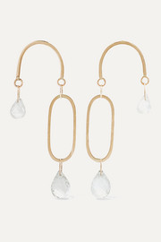 Melissa Joy Manning 14-karat gold, topaz and moonstone earrings