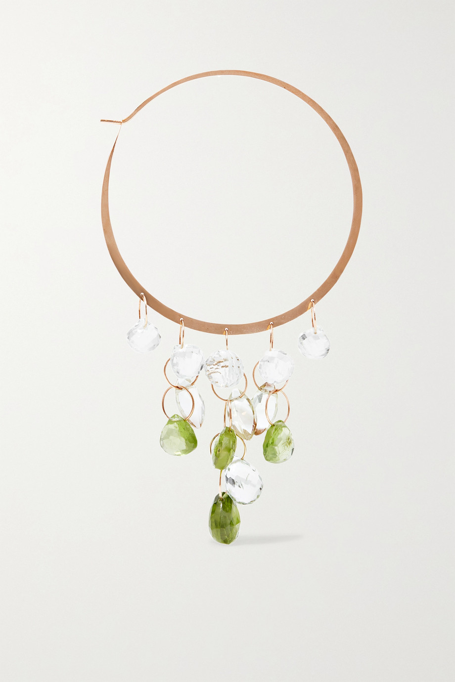 Melissa Joy Manning Extra large 14-karat gold multi-stone hoop earrings