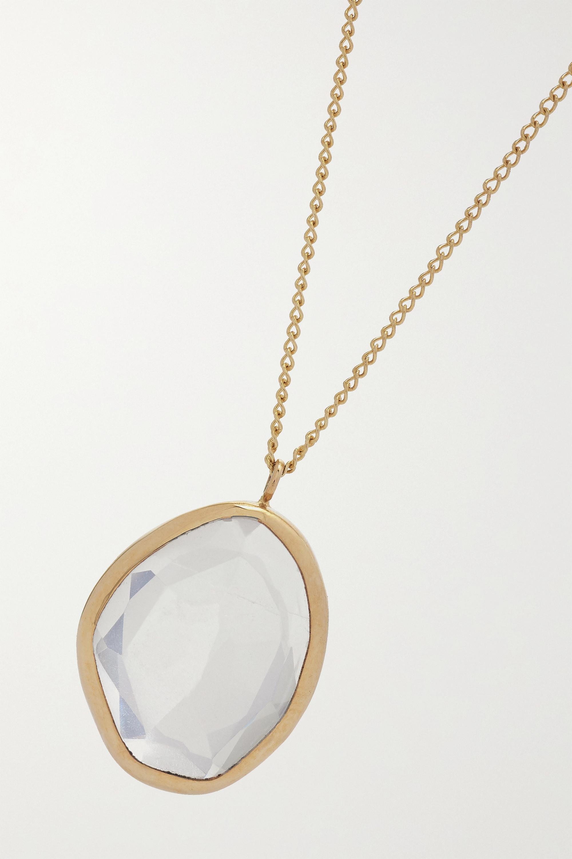 Melissa Joy Manning 14-karat gold rose quartz necklace