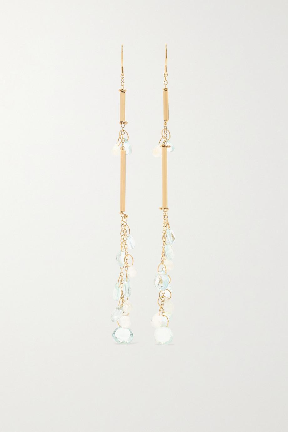 Melissa Joy Manning 14-karat gold aquamarine and moonstone earrings