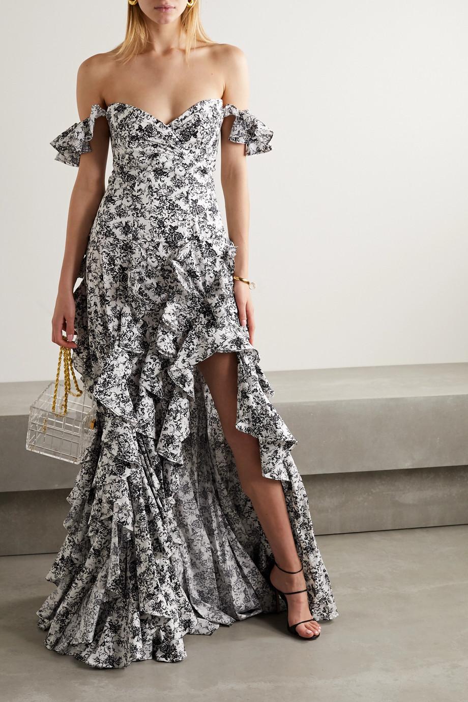 Caroline Constas Off-the-shoulder ruffled floral-print cotton-blend poplin gown