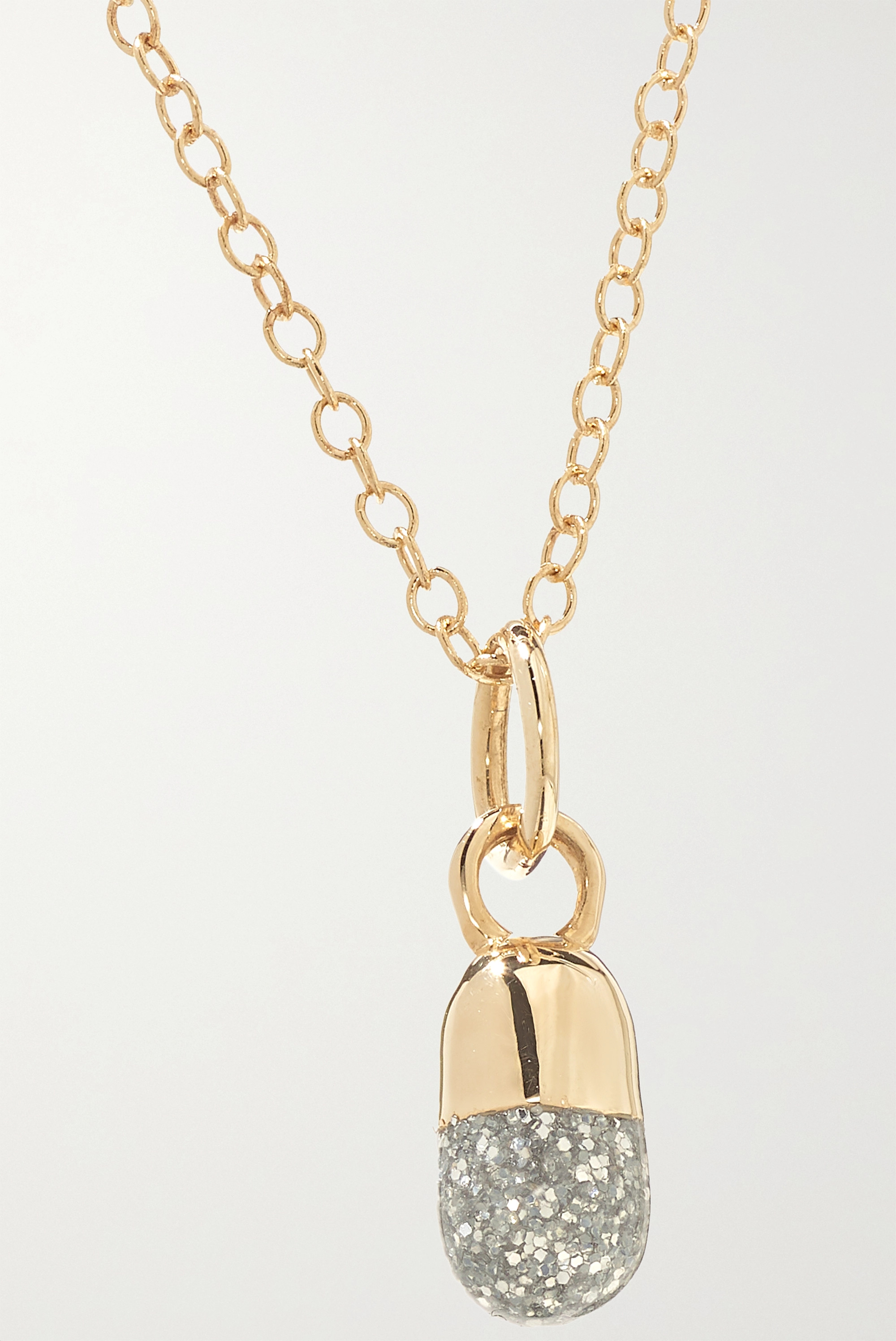 Alison Lou Pill 14-karat gold and glittered enamel necklace