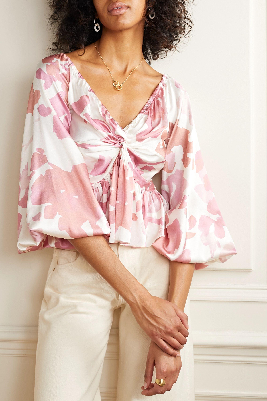 Caroline Constas Onira printed silk-blend satin top