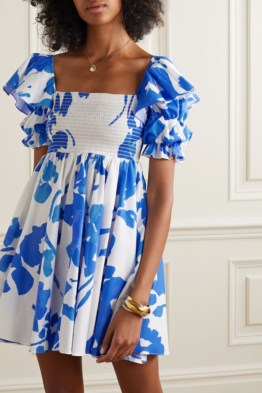 Caroline Constas Hanna shirred floral-print cotton-blend poplin mini dress