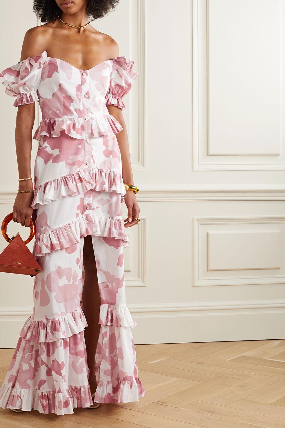Caroline Constas Iva off-the-shoulder ruffled printed cotton-blend poplin gown