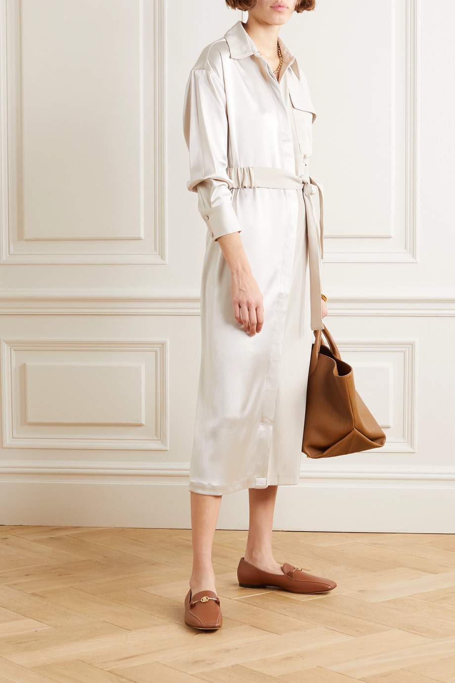 Co Belted satin and crepe midi dress