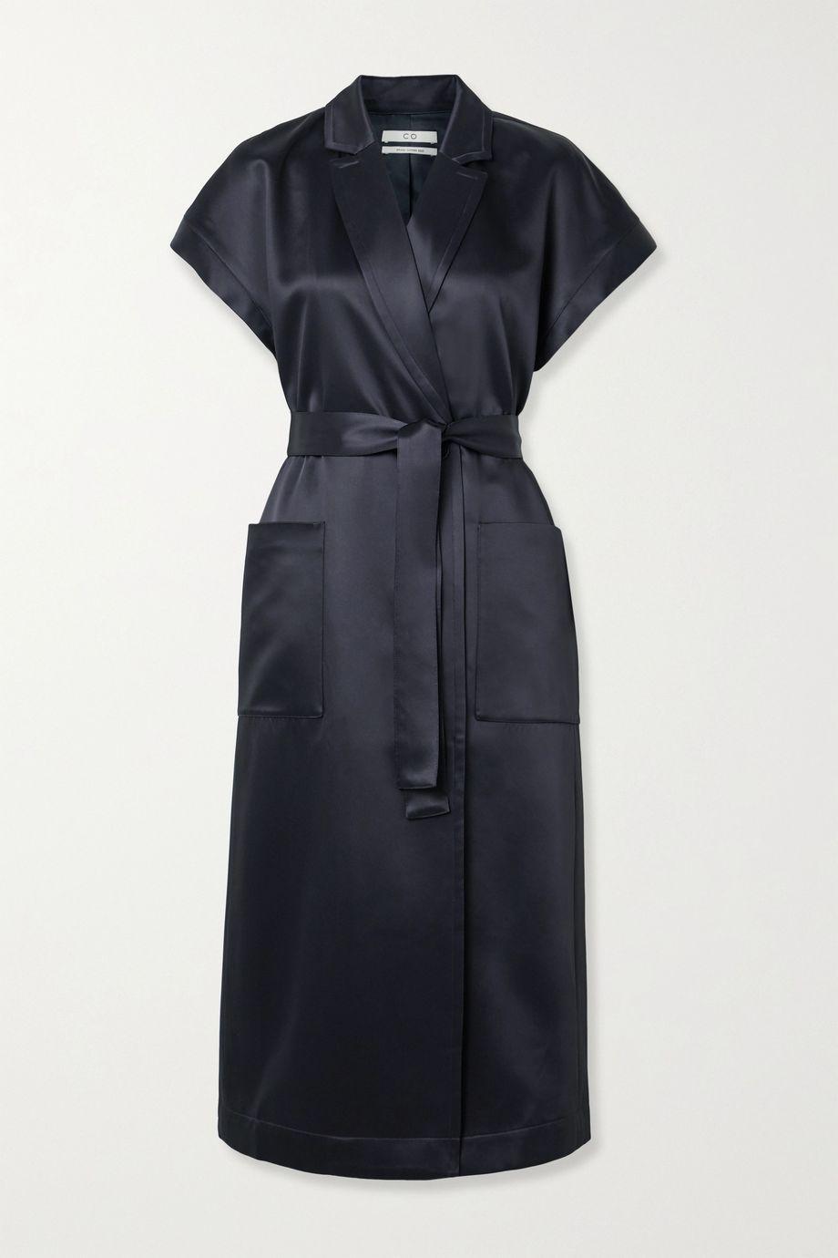 Co Belted duchesse-satin wrap dress