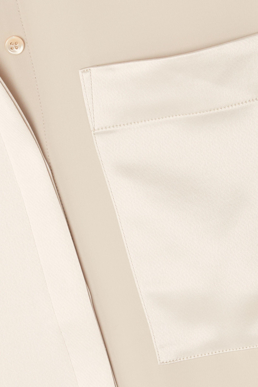Co Paneled satin and crepe de chine shirt