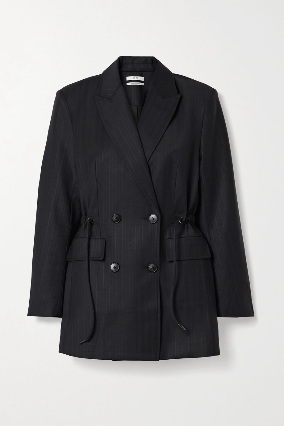 Co Double-breasted pinstriped wool-blend blazer