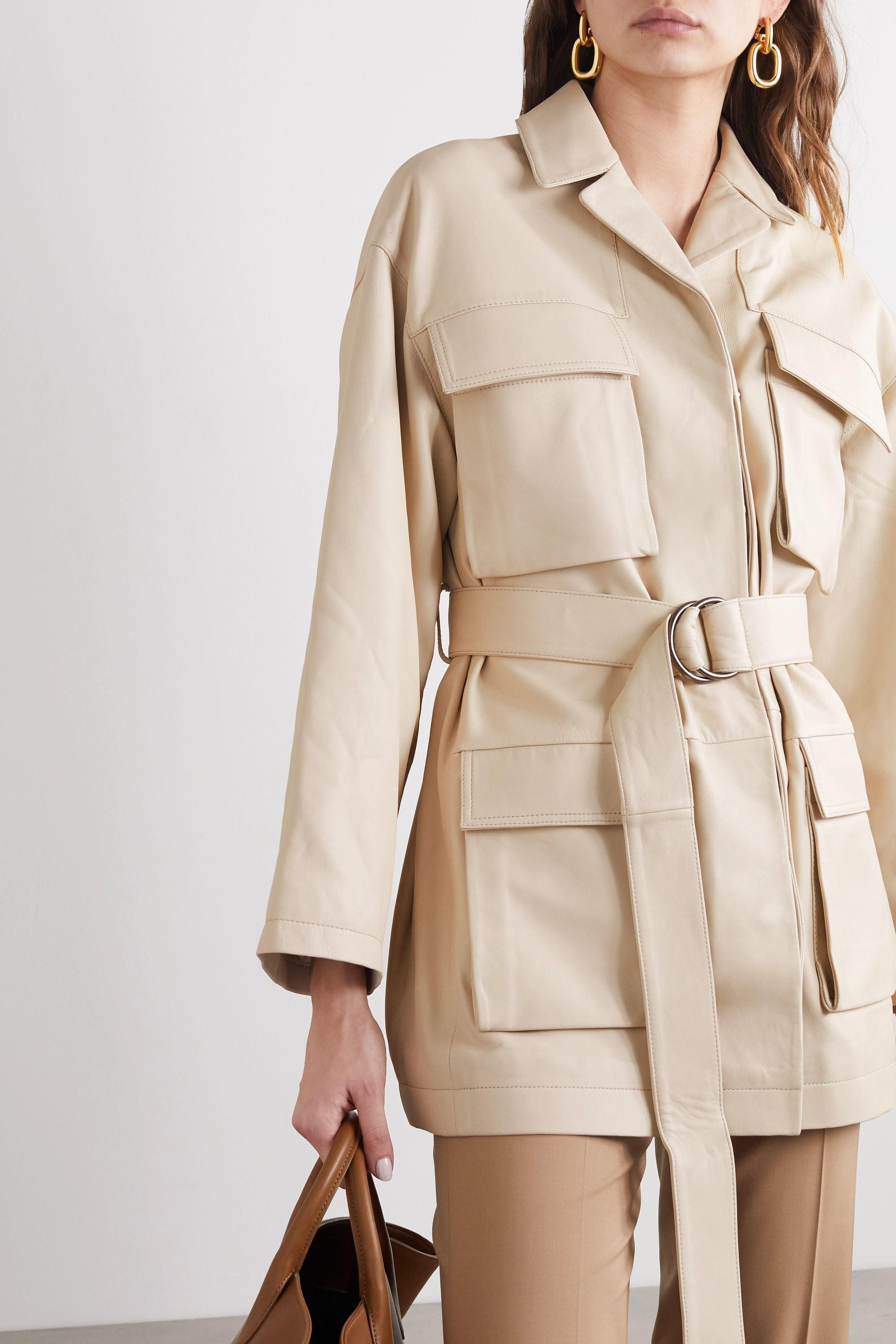 Co Belted leather jacket