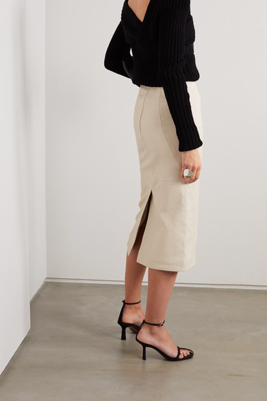paneled-leather-midi-skirt by co
