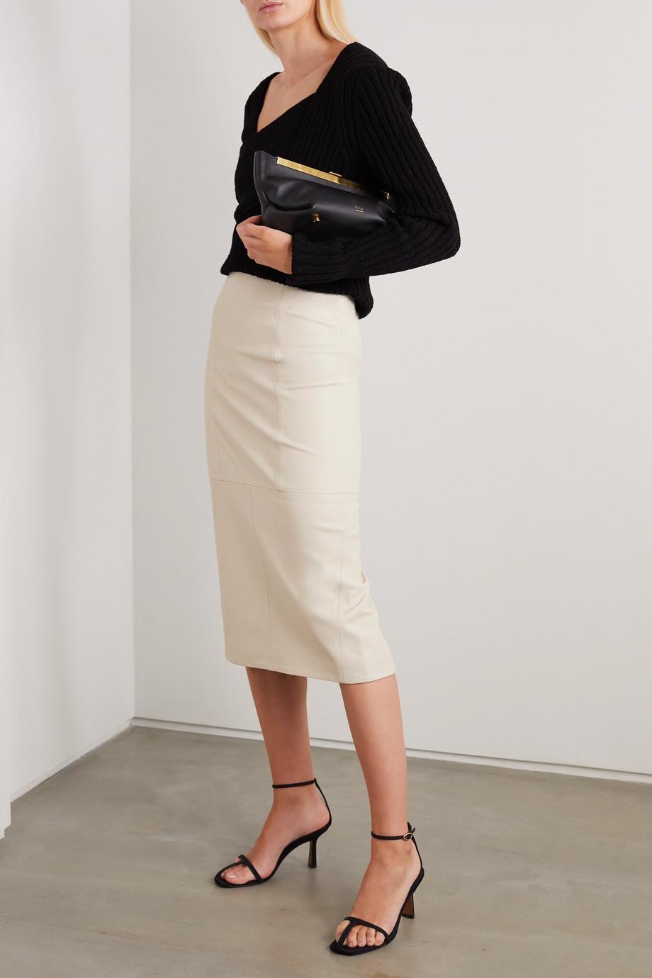 Co Paneled leather midi skirt