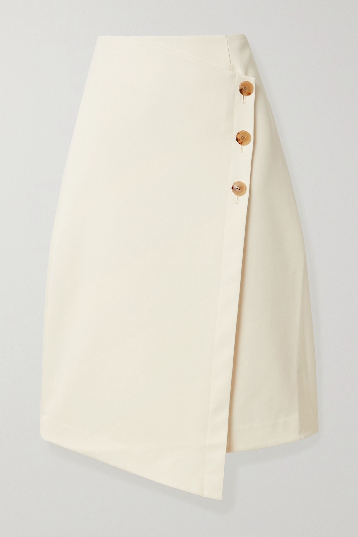 Co Asymmetric cotton and wool-blend wrap skirt