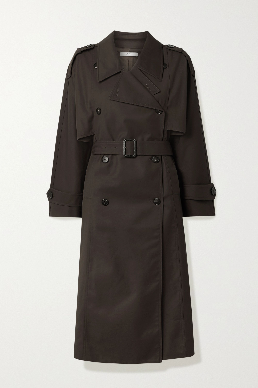 Belted gabardine trench coat