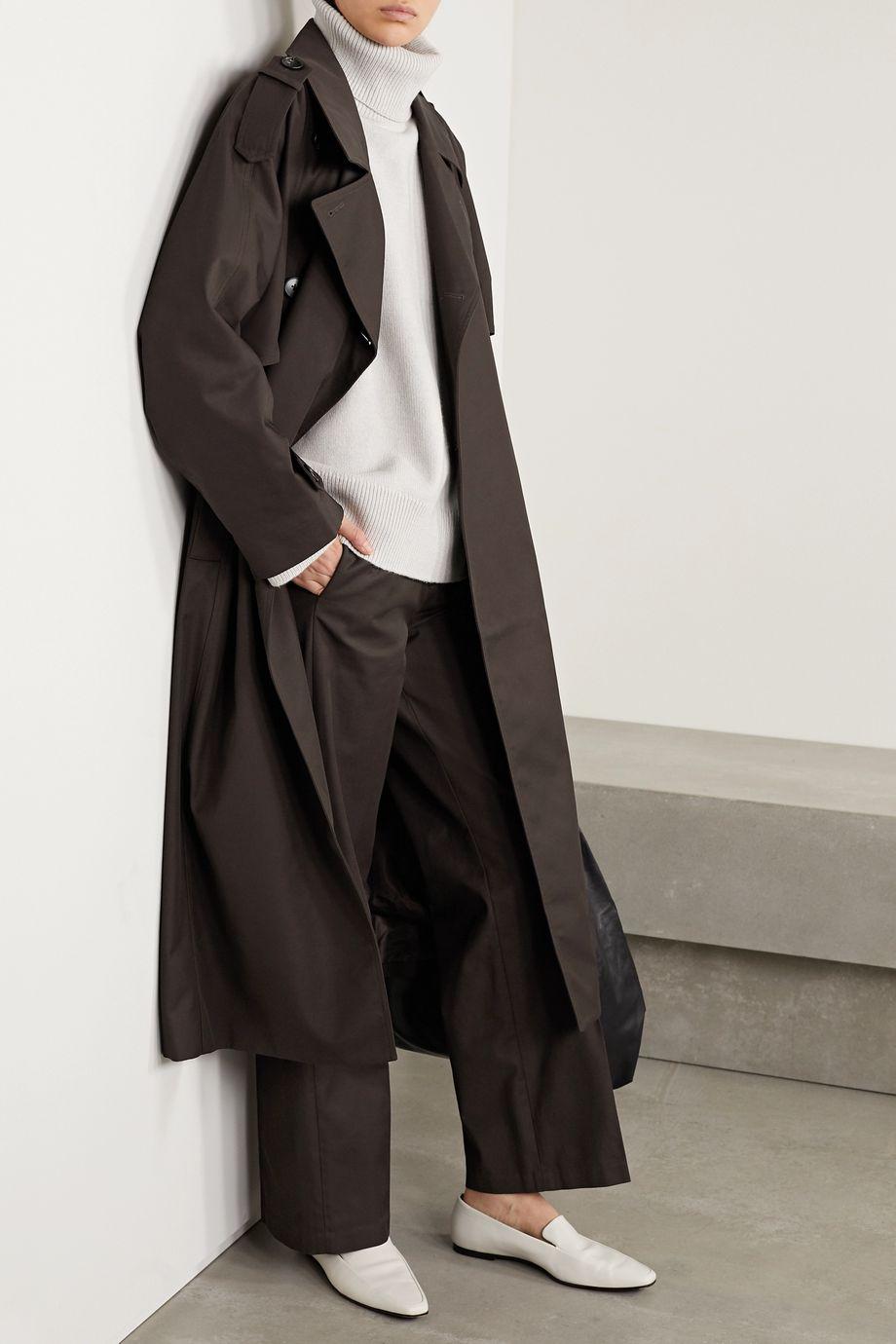 Co Belted gabardine trench coat