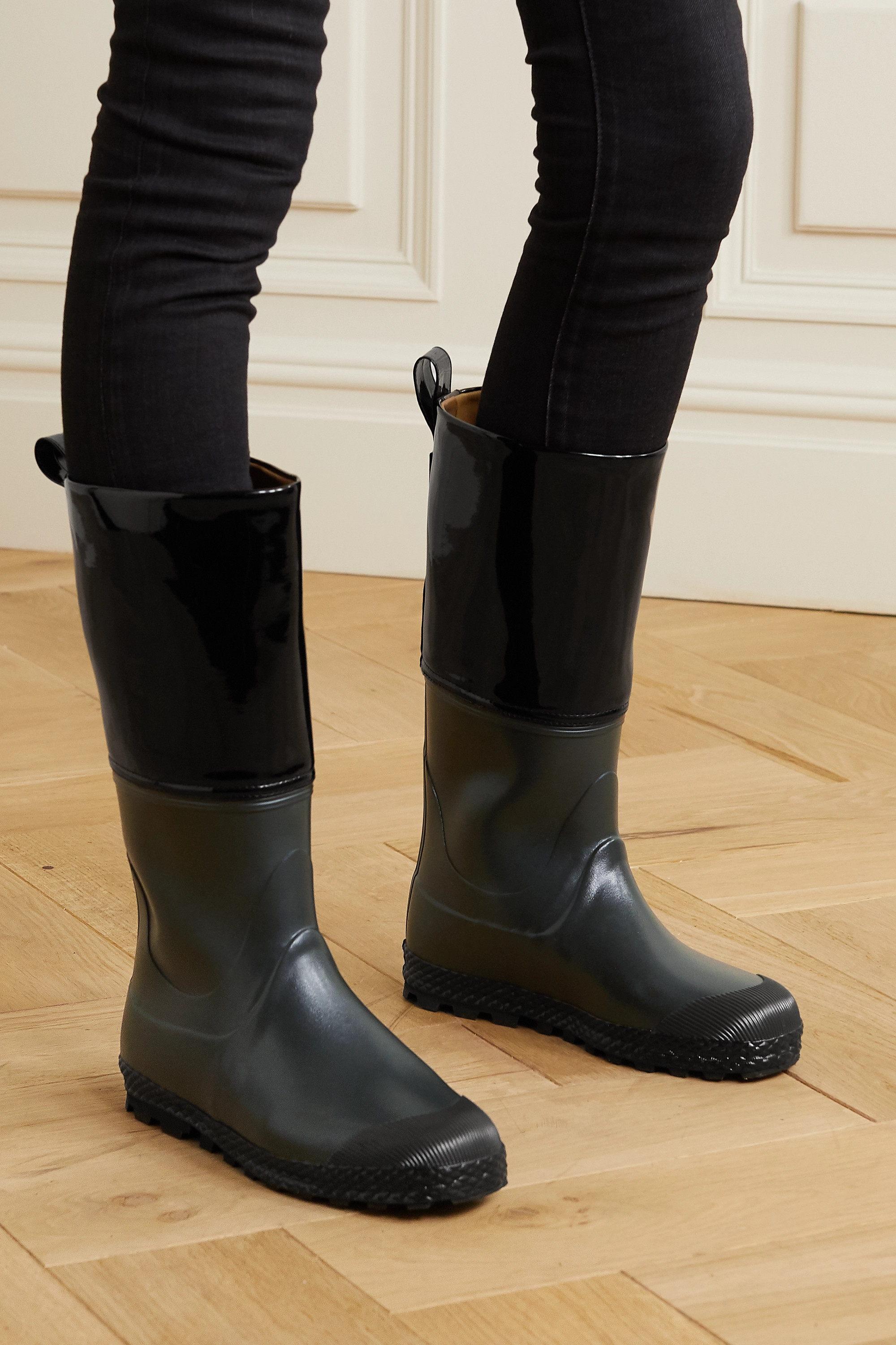 Ludwig Reiter Gardener rubber and patent-leather rain boots