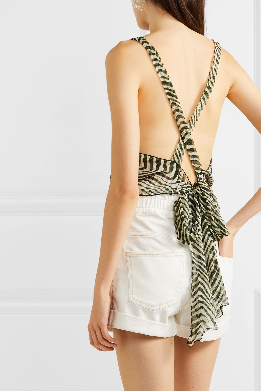 Cloe Cassandro + NET SUSTAIN Santi cropped zebra-print silk-crepon wrap top