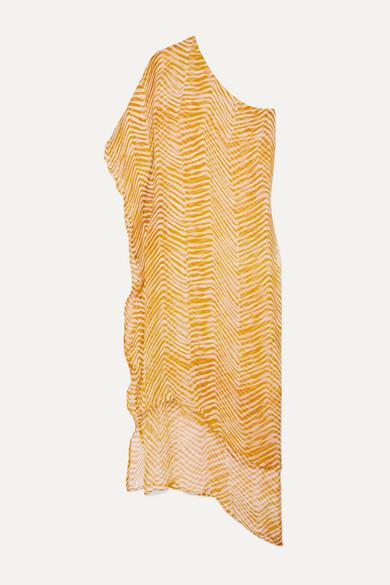 sydney-one-shoulder-layered-zebra-print-silk-crepon-maxi-dress by cloe-cassandro