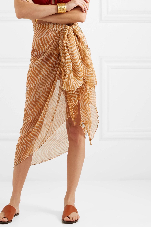 Cloe Cassandro + NET SUSTAIN zebra-print silk-crepon pareo