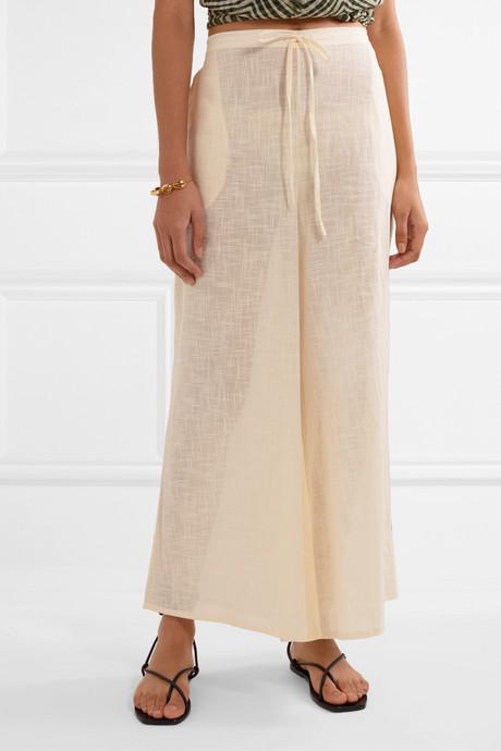 Lucy cotton-gauze wide-leg pants