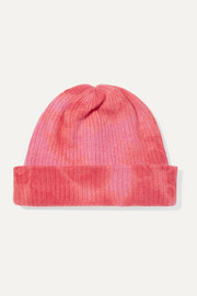 Tie-dyed ribbed cashmere beanie