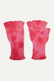Tie-dyed cashmere fingerless gloves