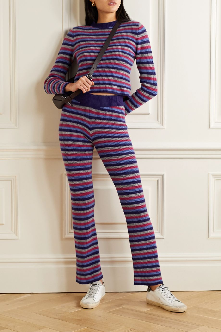 The Elder Statesman Ribbed striped cashmere flared pants