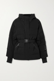 Sheena hooded belted quilted down ski jacket