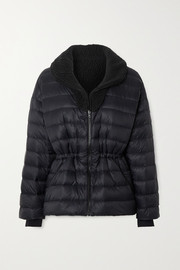 Polar reversible quilted down and shearling ski jacket