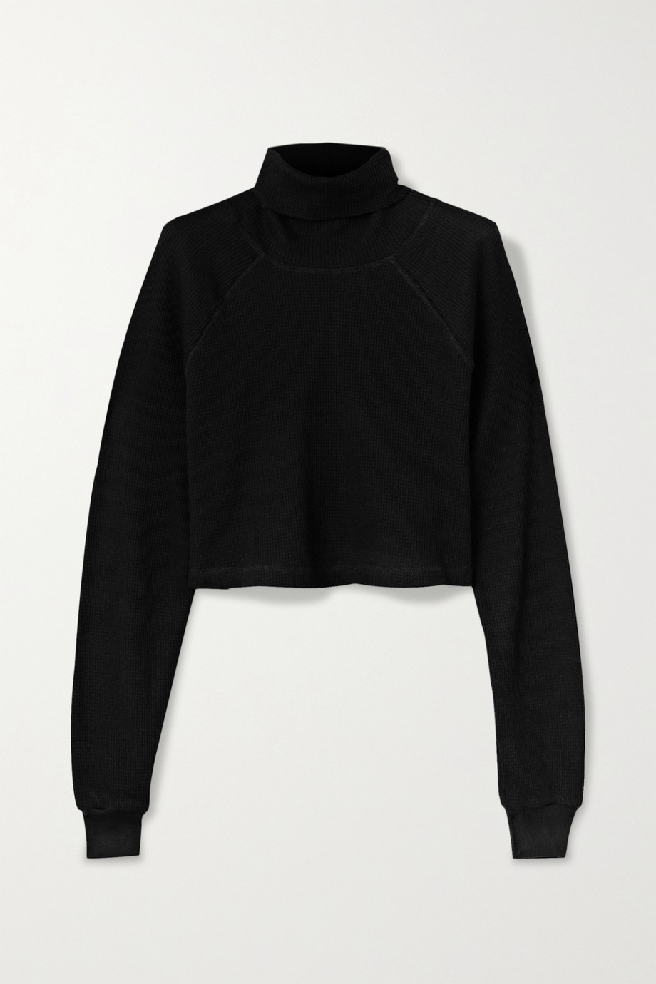 The Range Cropped waffle-knit stretch-cotton turtleneck top