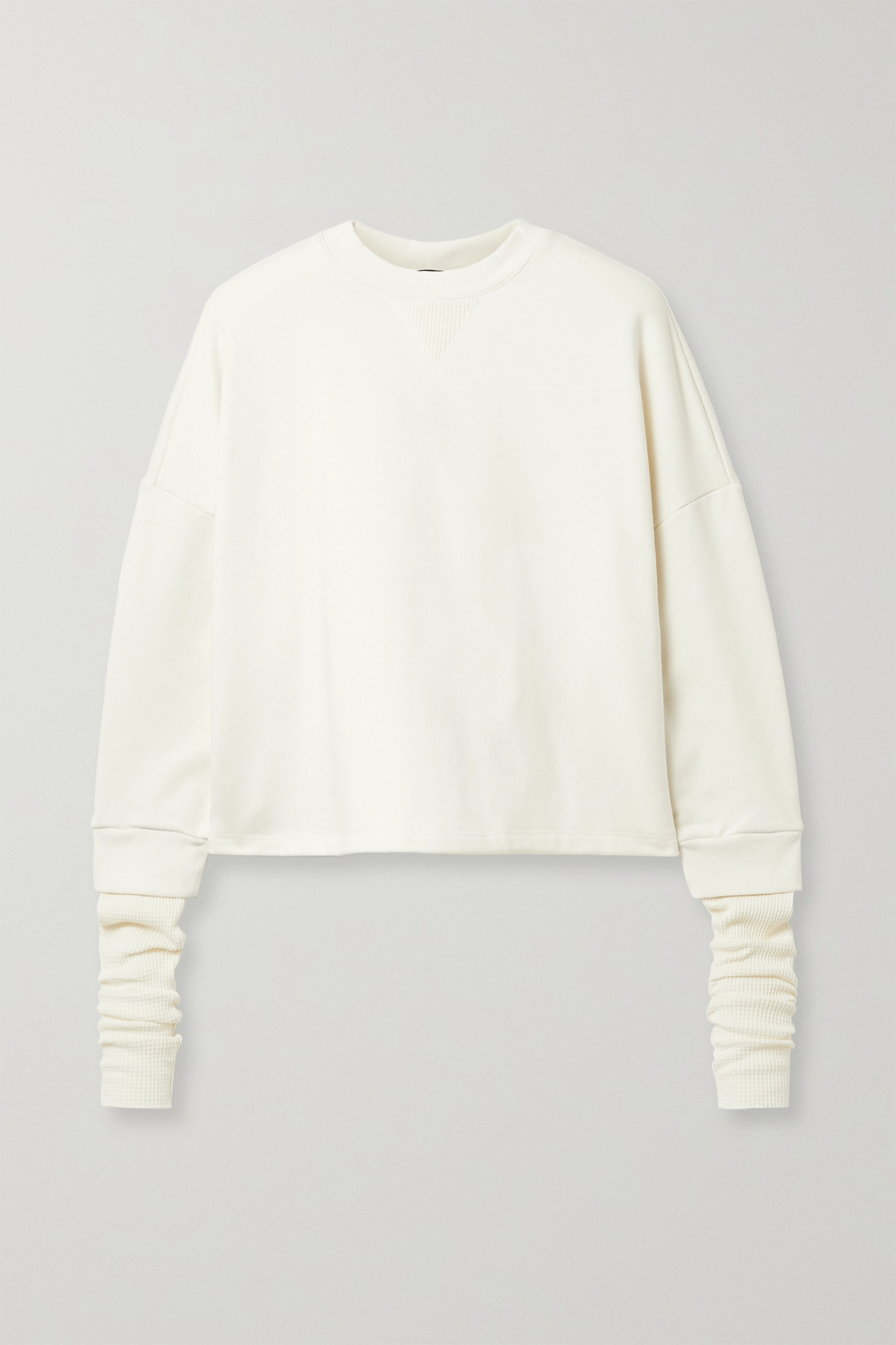The Range Contra layered cotton-blend waffle-knit and terry sweatshirt