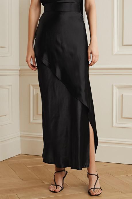 Wrap-effect satin maxi skirt