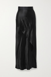 The Range Wrap-effect satin maxi skirt