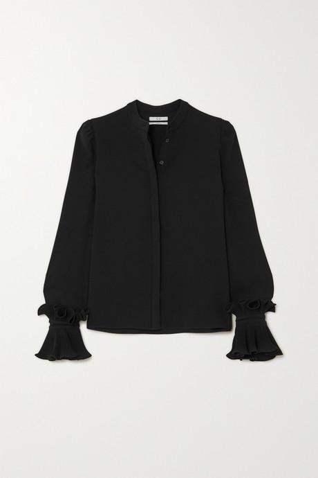 Black Ruffled crepe de chine blouse | Co VXK027