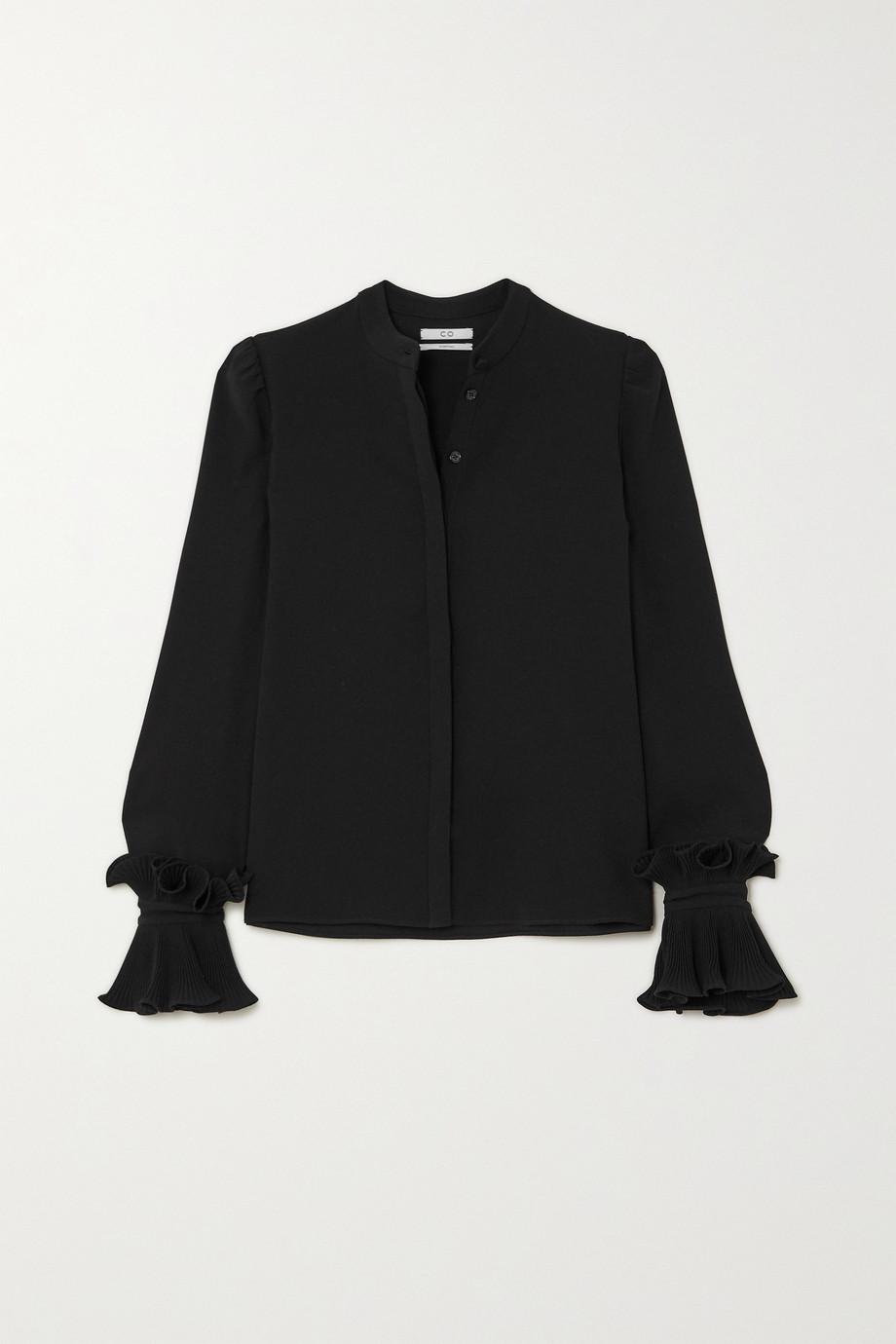 Co Ruffled crepe de chine blouse