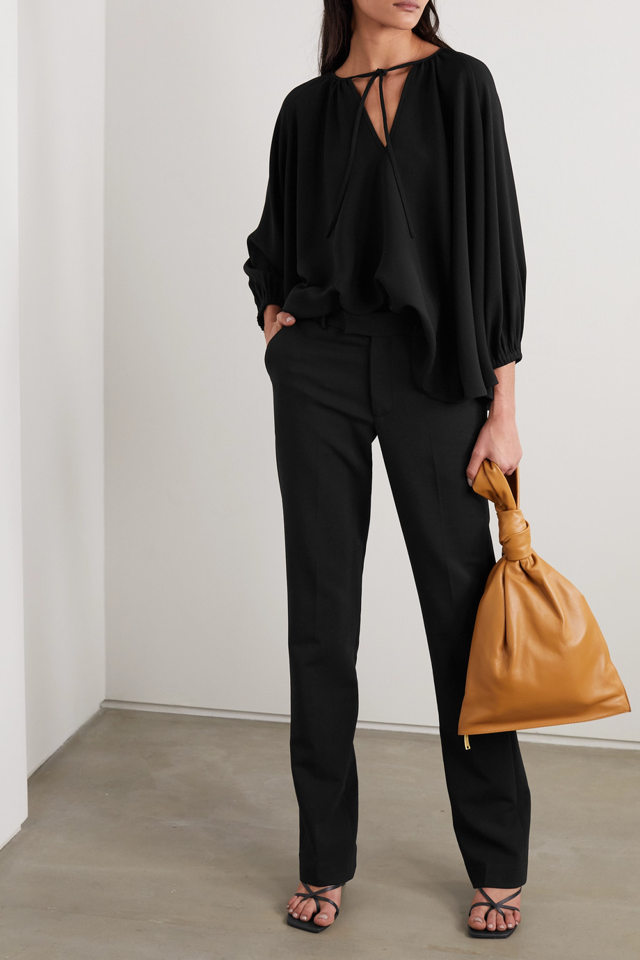 Co Tie-detailed crepe blouse